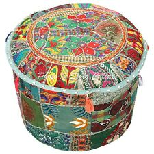 Indian Ottoman Pouffe Cover Green Cotton Patchwork Embroidered Round 16 Inch