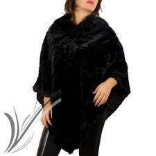 Poncho nero donna eco pelliccia mantella nera coprispalle invernale inverno