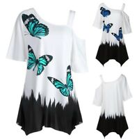 Size S-5XL Loose Women's Butterfly Print T-Shirt Short Sleeve Casual Tops Blouse