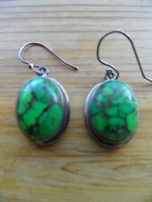 Gems TV Green Copper Turquoise Sterling Silver Earrings