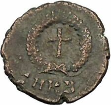 THEODOSIUS II 425AD Authentic Ancient Roman Coin Wreath, cross within i52522