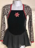 GK BLACK VELVET ICE FIGURE SKATE CHILD SMALL LgSLV FOIL PRINT DRESS Sz CS NWT!