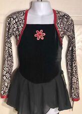 GK BLACK VELVET ICE FIGURE SKATE CHILD SMALL LgSLV FOIL PRINT DRESS Sz CS NWT!