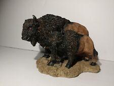 "Black & Brown Buffalo Figure with Baby Buffalo Poly-resin 5"" x 4-1/2"" x 4"""
