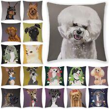 "18"" Cute Cartoon Dog Linen Throw Pillow Case Cushion Covers Home Sofa Decor"