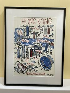 Hong Kong Landmarks Architecture Print By Julie Gash With Mount & Frame