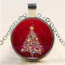 Christmas Tree Photo Cabochon Glass Tibet Silver Chain Pendant Necklace