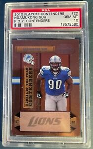2010 DETROIT LIONS PANINI PLAYOFF CONTENDERS NDAMUKONG SUH #22 PSA10 ROY CONTEND