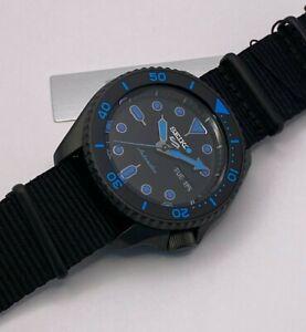 Seiko 5 Sports Men's Auto, Black-tone steel, Black Dial, Strap Watch SRPD81K1