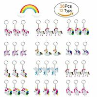 36Pcs Rainbow Unicorn Keychain Key Ring Decoration Birthday Party Favor Supplies