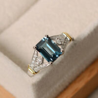 925 Silver Women Rings Emerald Cut Aquamarine Jewelry wedding Rings Size 6-10