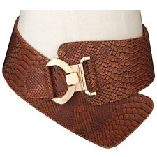 Women Leather Stretch Wide Waist Belt Wide Belt for Hip Gift Perfect Hook Buckle