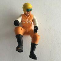 """Motorcycle Rider Fun Action Figure Loose Toy 3"""" Orange White"""