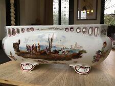 Jardinière MEISSEN ajourée porcelaine décor bord de mer pêcheurs