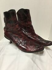 Cydwoq Vintage PI Ankle Boots 39 / 9 Red/Brown/Black Leather  Hand Made USA