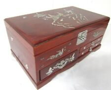 Lg Vintage ASIAN JEWELRY BOX Mother-of-Pearl INLAY 3 Drawer Music Box Mirror Lid