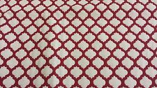 "Burgundy/white print fabric remnant 42"" long X 37"" wide"