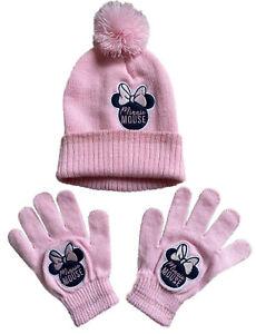 Minnie Mouse Bobble Hat & Gloves Set Girls Pink Pom Pom Beanie Hat & Mittens Set