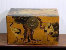 Vintage Japanese Asian Design Cedar Lined Storage Box w Birds Cranes Trees