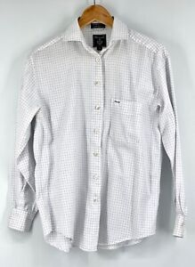 Faconnable Mens Small Long Sleeve Button Down Shirt White Blue 100% Cotton