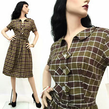 RARE Vintage 40s 50s Pin Up Rockabilly Dress Cotton Plaid Belted Full NOS TAGS M