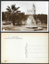 Old Morocco Real Photo Postcard - Casablanca - Fontaine et Jardins