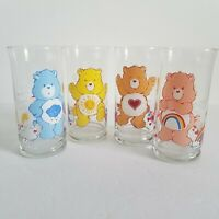 Vintage 1983 Pizza Hut Care Bears Glasses Limited Edition Collectors Set of 4