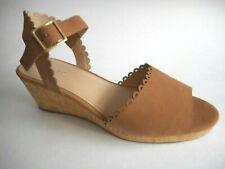 Brand New Lands End Size 9.5M Soft Hazel Nut Coated Leather Wedge Sandal Shoes