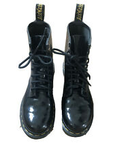 DR MARTENS GENUINE LEATHER ANKLE SIZE 4 BLACK WOMENS LADIES BOOTS SHOES MILITARY