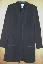 Women's Ann Taylor Loft Black Long Length 2 Pocket Casual Dress Coat Jacket 10