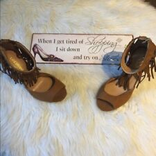Lane Bryant brown fringed ankle strap heels 8 W