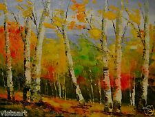 "Oil Painting On Stretched Canvas 12"" x 16""- Birch Trees in Fall"