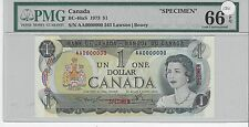 **1973**Lawson/Bouey $1 Specimen Note ;PMG GEM UNC  MS-66 EPQ Note#343