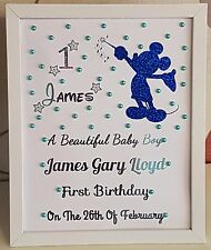 Personalised Framed Mickey Wand Baby First 1st Birthday Boy Handmade Gift