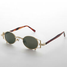 Gothic Oval Victorian Steampunk Sunglasses Gold & Green Lens RARE - ADA