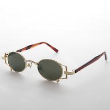 Gothic Oval Victorian Steampunk Sunglasses Gold & Green Lens RARE - ADA