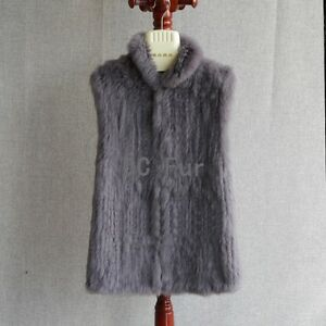 New Real Knit Rabbit Fur Think Vest With Stand Up Collar Fur Waistcoat Vest Lady