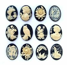 12 Mixed Styles IVORY color on BLACK 40mm x 30mm Costume Jewelry CAMEOS LOT A