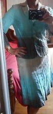 Tailleur jupe veste Betty BARCLAY 38/40 dégradé bleu turquoise, taupe écru