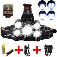 90000LM 5 Head XM-L T6 LED 18650 Headlamp Headlight Flashlight Head Torch Lamp