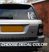 "LOVE Soccer 4"" Vinyl Sticker Decal - Choose Color! bumper car window mom van"