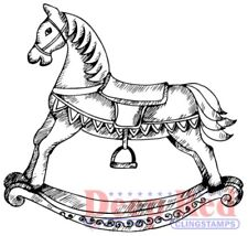 Deep Red Stamps Rocking Horse Rubber Cling Stamp