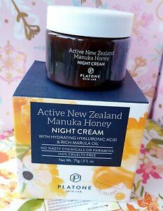 Platone Skin Lab Active New Zealand Manuka Honey Night Cream 2.5 Oz NEW IN BOX