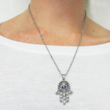 Hamsa Evil Eye Hand Charm Pendant Chain Necklace Fatima Good Luck Protection New