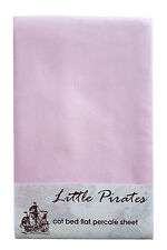 Cot/Cot Bed Flat Sheet 100% Brushed Cotton percale in Pink - BNIP