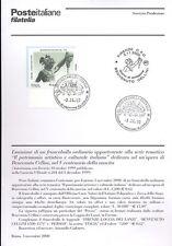 ITALIA 2000 BENVENUTO CELLINI  BOLLETTINO COMPLETO DI FRANCOBOLLI FDC