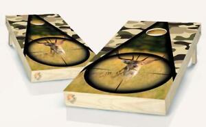 Camo Hunting Deer Cornhole Board Vinyl Wrap Laminated Sticker Set