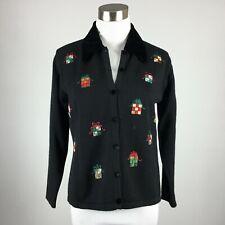 Talbots Petites Size 8P Cardigan Sweater Black Christmas XMas Embellished Gifts
