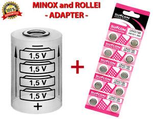Adapter + 10 LR43 Für MINOX 35 (EL, GL, GT, PL, PE, AL), MINOX(C,EC,ECX,LX,TLX)