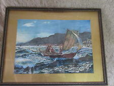 Beautiful Antique Watercolor Painting 3 People in Sailboat Rough Sea by V.Mili